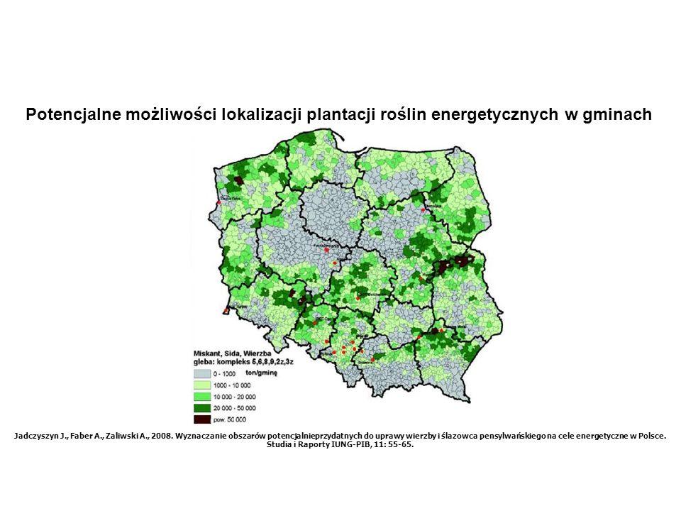 Potencjalne możliwości lokalizacji plantacji roślin energetycznych w gminach Jadczyszyn J., Faber A., Zaliwski A., 2008. Wyznaczanie obszarów potencja