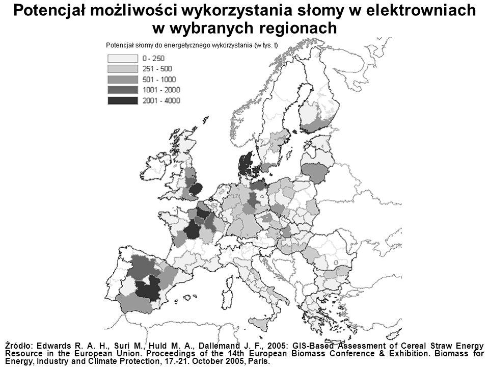 Potencjał możliwości wykorzystania słomy w elektrowniach w wybranych regionach Źródło: Edwards R. A. H., Suri M., Huld M. A., Dallemand J. F., 2005: G