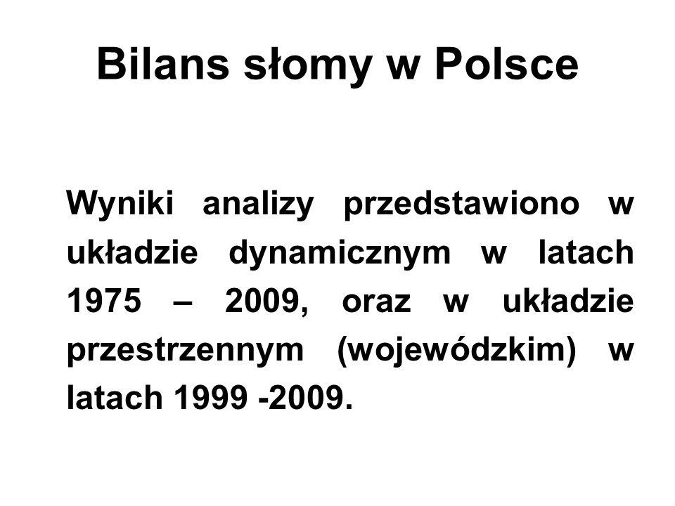 Bilans słomy w Polsce Wyniki analizy przedstawiono w układzie dynamicznym w latach 1975 – 2009, oraz w układzie przestrzennym (wojewódzkim) w latach 1