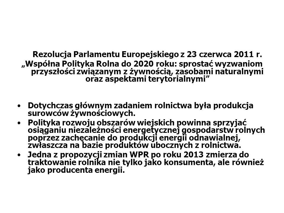 Rezolucja Parlamentu Europejskiego z 23 czerwca 2011 r. Współna Polityka Rolna do 2020 roku: sprostać wyzwaniom przyszłości związanym z żywnością, zas