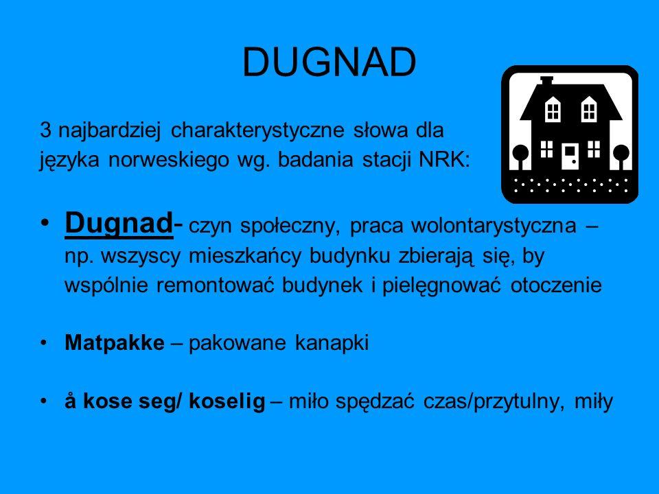 DUGNAD 3 najbardziej charakterystyczne słowa dla języka norweskiego wg. badania stacji NRK: Dugnad- czyn społeczny, praca wolontarystyczna – np. wszys