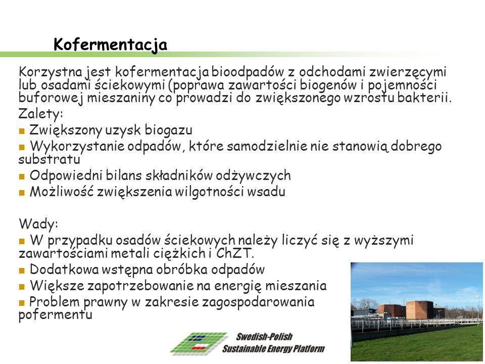 10 Kofermentacja Korzystna jest kofermentacja bioodpadów z odchodami zwierzęcymi lub osadami ściekowymi (poprawa zawartości biogenów i pojemności bufo