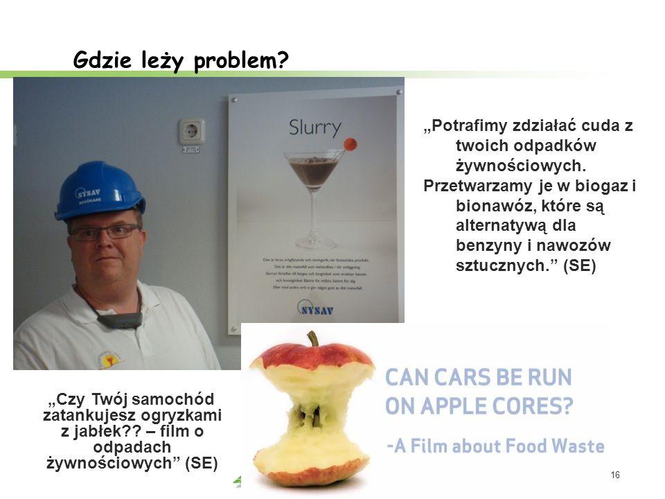 16 Gdzie leży problem? Potrafimy zdziałać cuda z twoich odpadków żywnościowych. Przetwarzamy je w biogaz i bionawóz, które są alternatywą dla benzyny