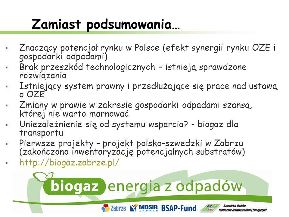 Zamiast podsumowania… Znaczący potencjał rynku w Polsce (efekt synergii rynku OZE i gospodarki odpadami) Brak przeszkód technologicznych – istnieją sp
