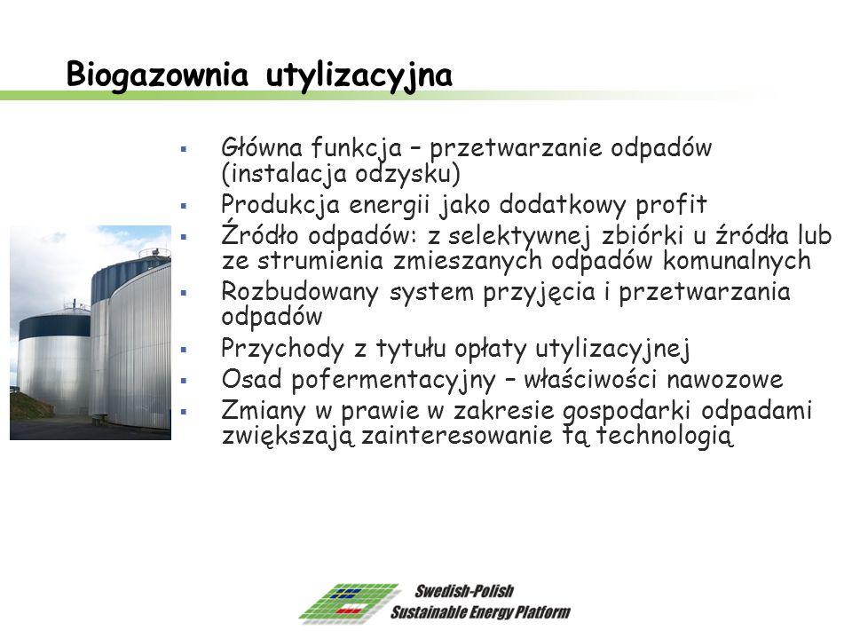 Biogazownia utylizacyjna Główna funkcja – przetwarzanie odpadów (instalacja odzysku) Produkcja energii jako dodatkowy profit Źródło odpadów: z selekty