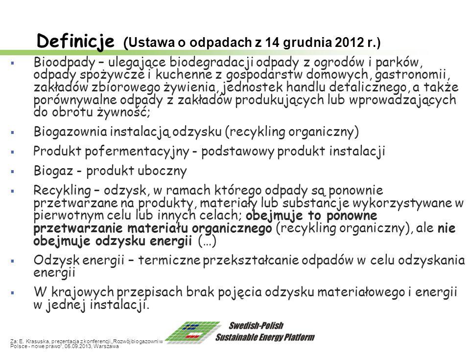 Definicje ( Ustawa o odpadach z 14 grudnia 2012 r.) Bioodpady – ulegające biodegradacji odpady z ogrodów i parków, odpady spożywcze i kuchenne z gospo