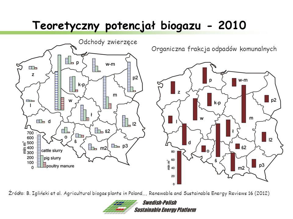 Teoretyczny potencjał biogazu - 2010 Źródło: B. Igliński et al. Agricultural biogas plants in Poland…, Renewable and Sustainable Energy Reviews 16 (20