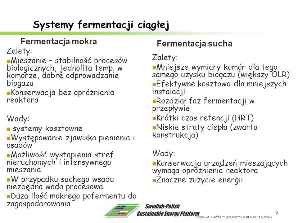 8 Systemy fermentacji ciągłej Źródło: M. Seiffert, prezentacja BFB 2011 Gdańsk Zalety: Mieszanie – stabilność procesów biologicznych, jednolita temp.