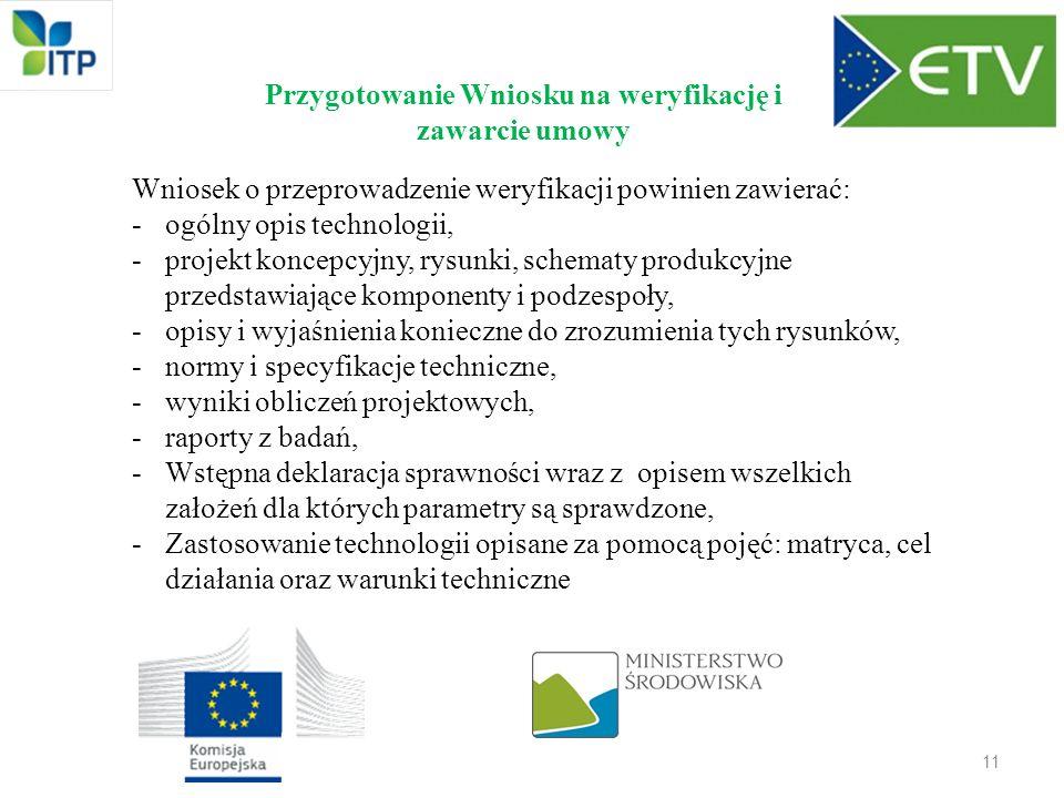 11 Przygotowanie Wniosku na weryfikację i zawarcie umowy Wniosek o przeprowadzenie weryfikacji powinien zawierać: -ogólny opis technologii, -projekt k