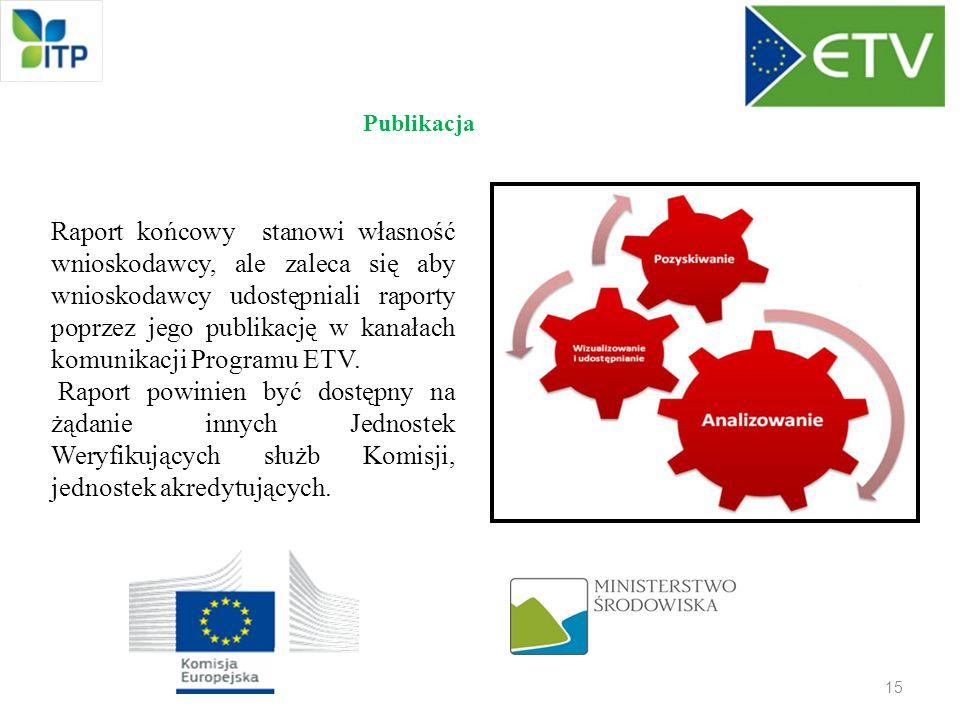 15 Publikacja Raport końcowy stanowi własność wnioskodawcy, ale zaleca się aby wnioskodawcy udostępniali raporty poprzez jego publikację w kanałach ko