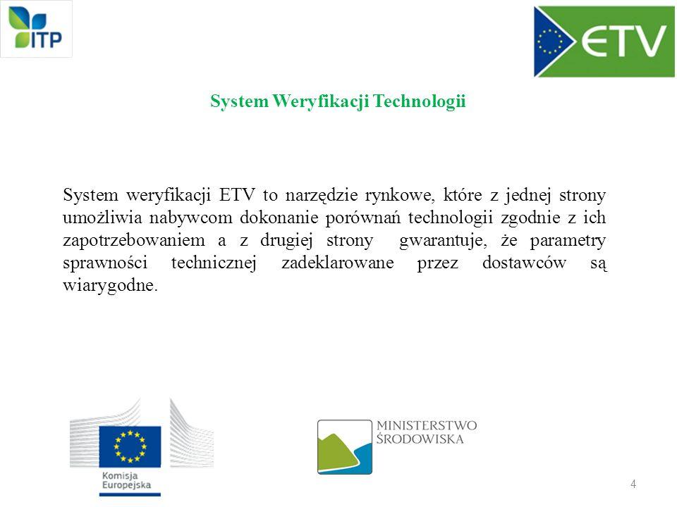 System Weryfikacji Technologii System weryfikacji ETV to narzędzie rynkowe, które z jednej strony umożliwia nabywcom dokonanie porównań technologii zg