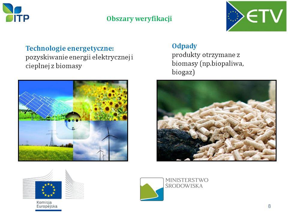Obszary weryfikacji Technologie energetyczne: pozyskiwanie energii elektrycznej i cieplnej z biomasy Odpady produkty otrzymane z biomasy (np.biopaliwa