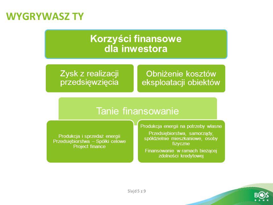 Slajd 5 z 9 WYGRYWASZ TY Korzyści finansowe dla inwestora Tanie finansowanie Zysk z realizacji przedsięwzięcia Produkcja i sprzedaż energii Przedsiębi