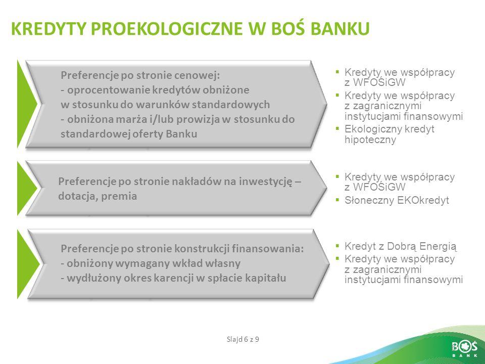 Slajd 6 z 9 6 Preferencje po stronie cenowej: - oprocentowanie kredytów obniżone w stosunku do warunków standardowych - obniżona marża i/lub prowizja