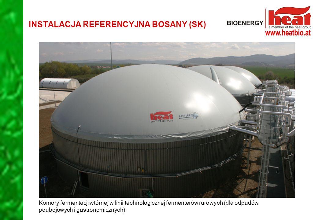 Komory fermentacji wtórnej w linii technologicznej fermenterów rurowych (dla odpadów poubojowych i gastronomicznych) INSTALACJA REFERENCYJNA BOSANY (SK)