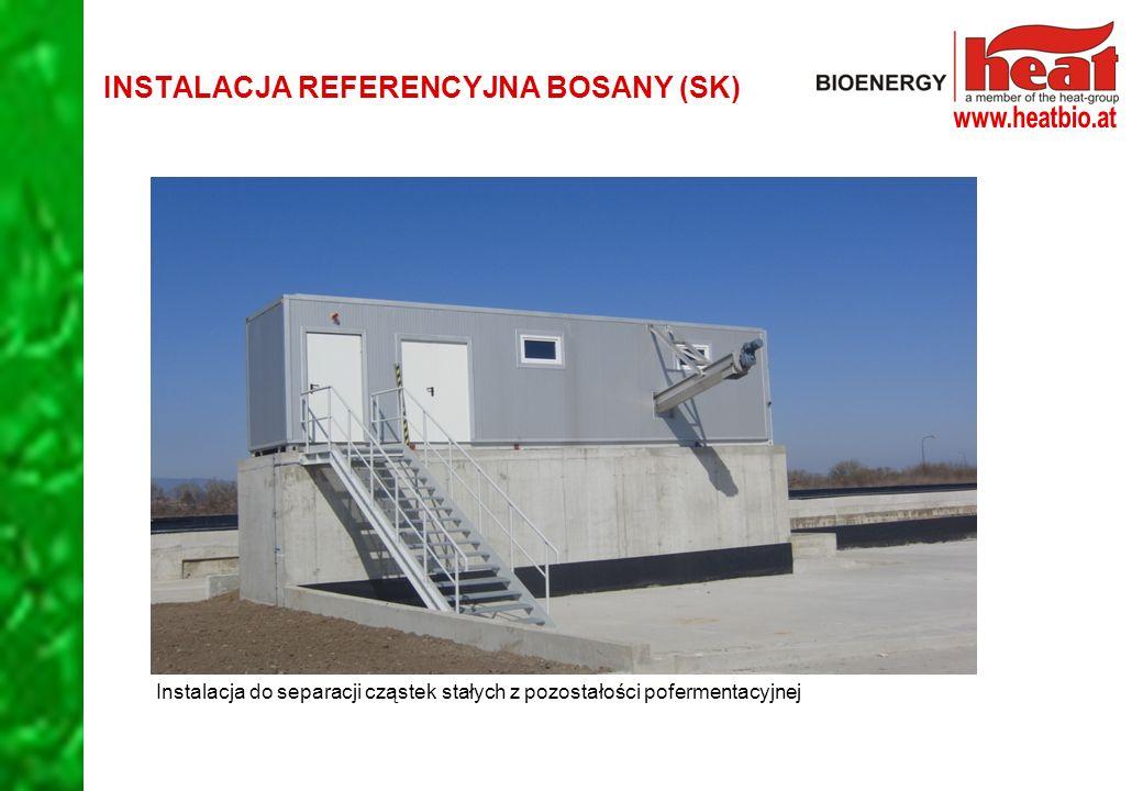 Instalacja do separacji cząstek stałych z pozostałości pofermentacyjnej INSTALACJA REFERENCYJNA BOSANY (SK)