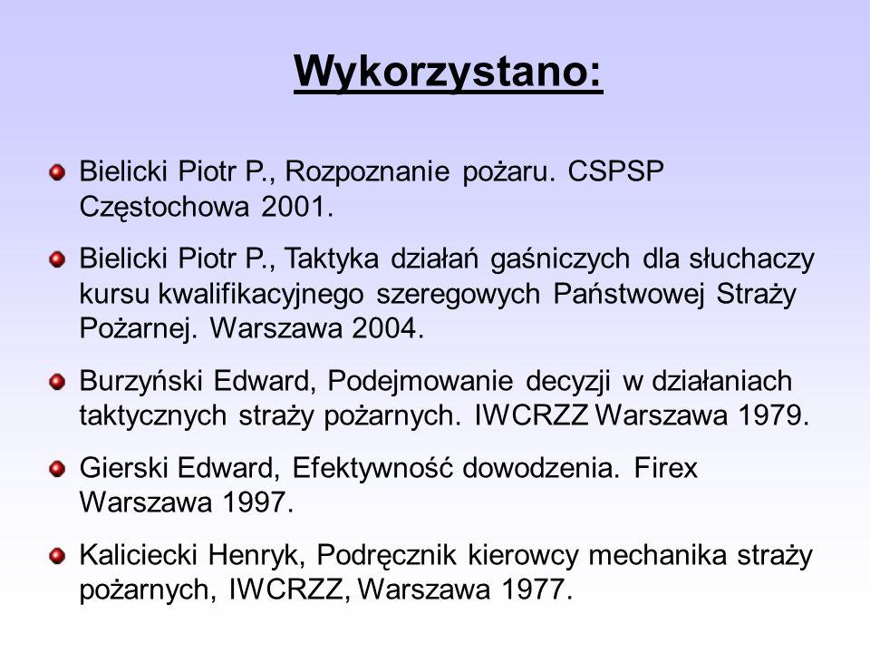Bielicki Piotr P., Rozpoznanie pożaru. CSPSP Częstochowa 2001. Bielicki Piotr P., Taktyka działań gaśniczych dla słuchaczy kursu kwalifikacyjnego szer