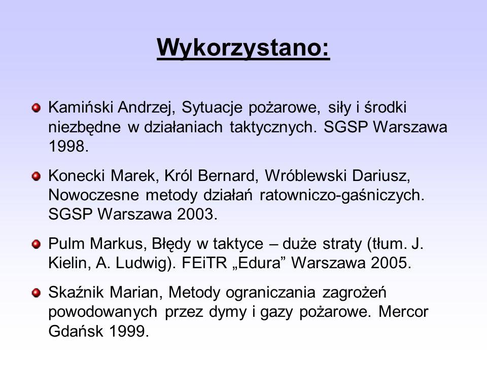 Kamiński Andrzej, Sytuacje pożarowe, siły i środki niezbędne w działaniach taktycznych. SGSP Warszawa 1998. Konecki Marek, Król Bernard, Wróblewski Da