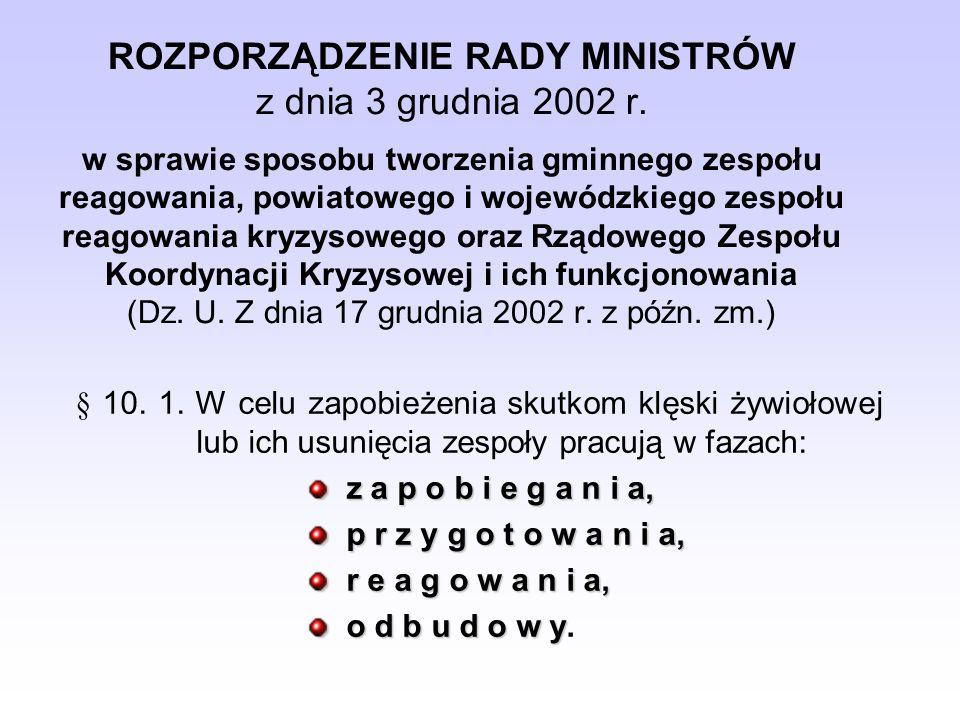 ROZPORZĄDZENIE RADY MINISTRÓW z dnia 3 grudnia 2002 r. w sprawie sposobu tworzenia gminnego zespołu reagowania, powiatowego i wojewódzkiego zespołu re