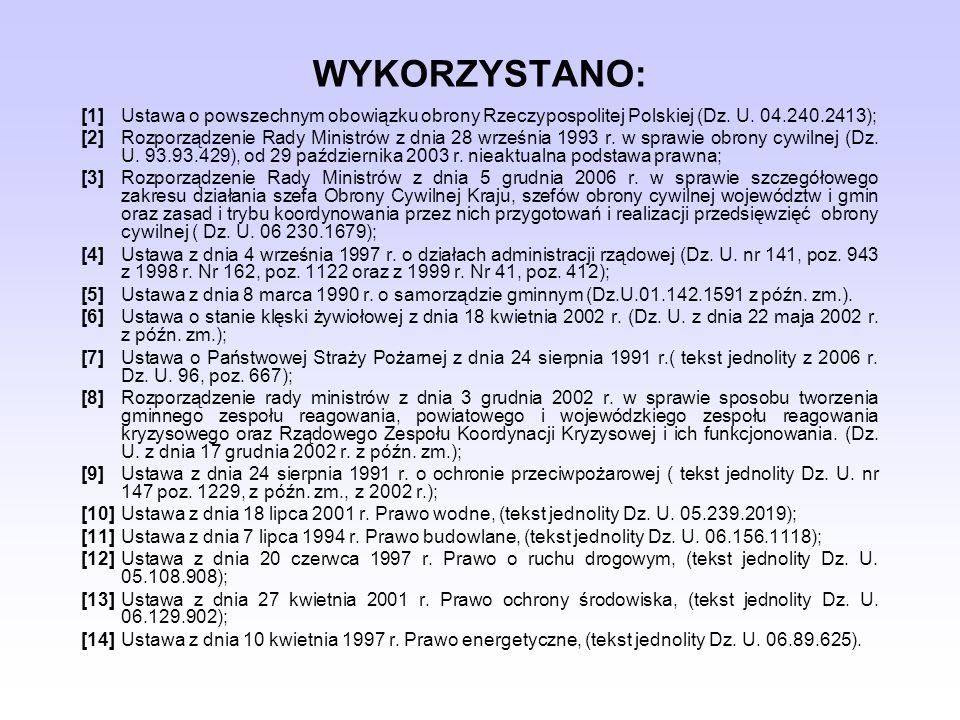 WYKORZYSTANO: [1]Ustawa o powszechnym obowiązku obrony Rzeczypospolitej Polskiej (Dz. U. 04.240.2413); [2]Rozporządzenie Rady Ministrów z dnia 28 wrze