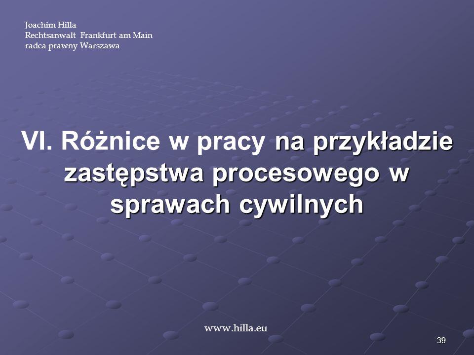 39 Joachim Hilla Rechtsanwalt Frankfurt am Main radca prawny Warszawa www.hilla.eu na przykładzie zastępstwa procesowego w sprawach cywilnych VI. Różn