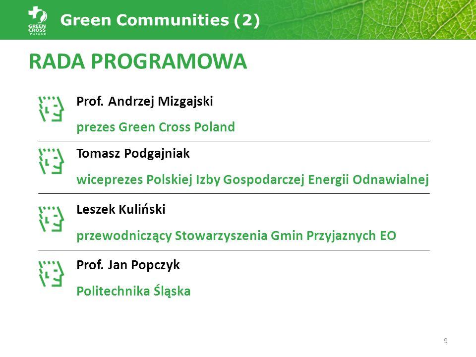 RADA PROGRAMOWA Prof. Andrzej Mizgajski prezes Green Cross Poland Tomasz Podgajniak wiceprezes Polskiej Izby Gospodarczej Energii Odnawialnej Leszek K