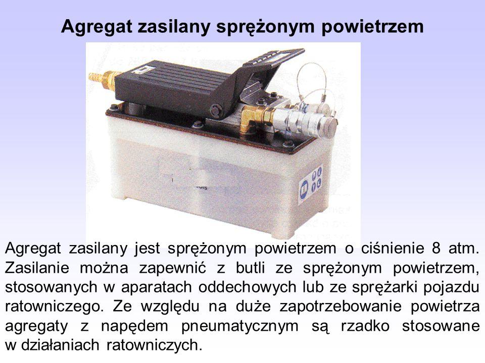 Agregat zasilany sprężonym powietrzem Agregat zasilany jest sprężonym powietrzem o ciśnienie 8 atm. Zasilanie można zapewnić z butli ze sprężonym powi