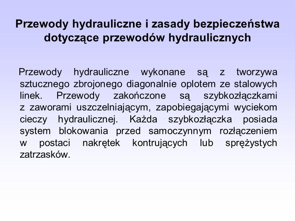 Przewody hydrauliczne i zasady bezpieczeństwa dotyczące przewodów hydraulicznych Przewody hydrauliczne wykonane są z tworzywa sztucznego zbrojonego di