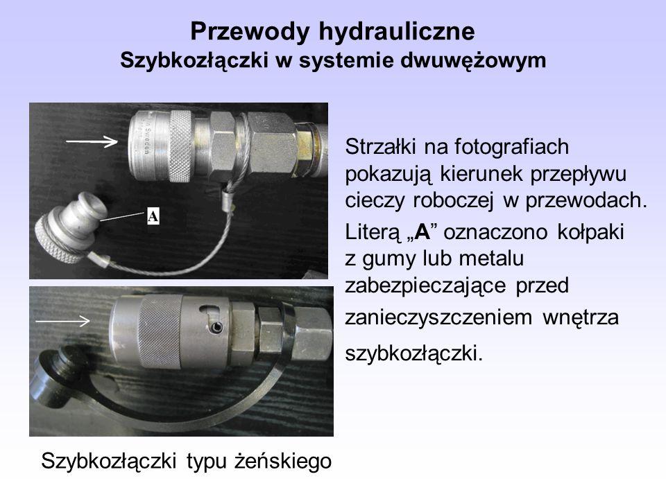 Przewody hydrauliczne Szybkozłączki w systemie dwuwężowym Strzałki na fotografiach pokazują kierunek przepływu cieczy roboczej w przewodach. Literą A