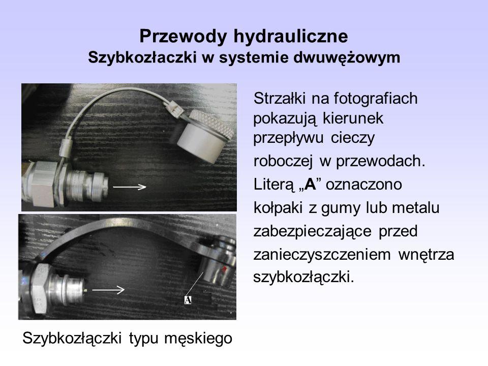 Przewody hydrauliczne Szybkozłaczki w systemie dwuwężowym Strzałki na fotografiach pokazują kierunek przepływu cieczy roboczej w przewodach. Literą A
