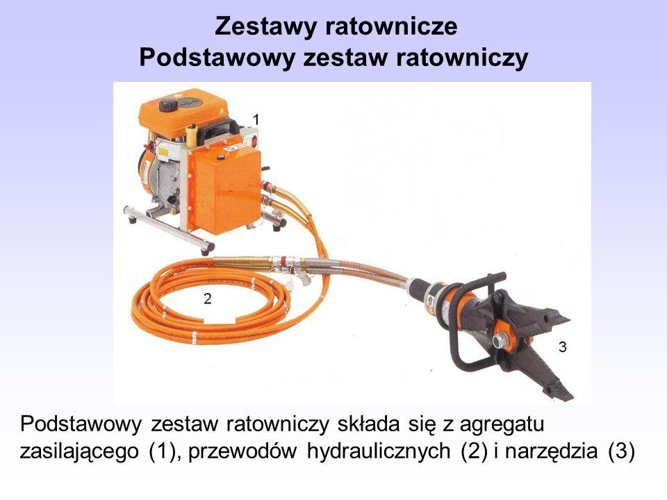Podstawowy zestaw ratowniczy składa się z agregatu zasilającego (1), przewodów hydraulicznych (2) i narzędzia (3) Zestawy ratownicze Podstawowy zestaw