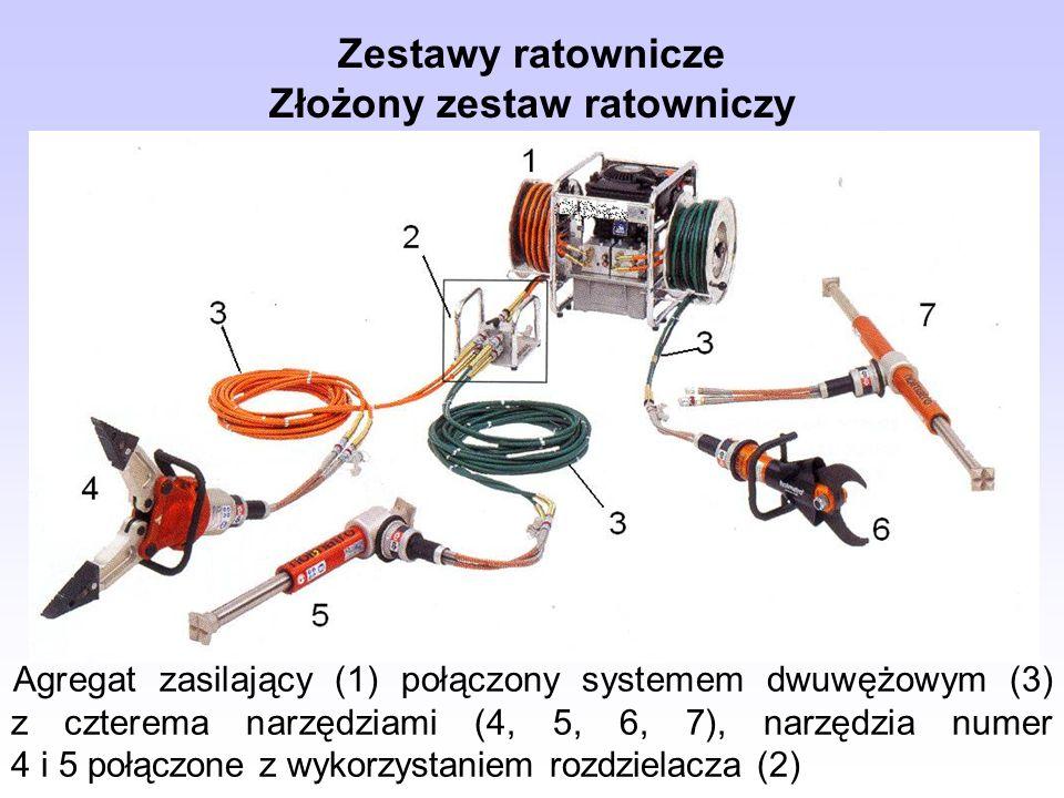 Zestawy ratownicze Złożony zestaw ratowniczy Agregat zasilający (1) połączony systemem dwuwężowym (3) z czterema narzędziami (4, 5, 6, 7), narzędzia n