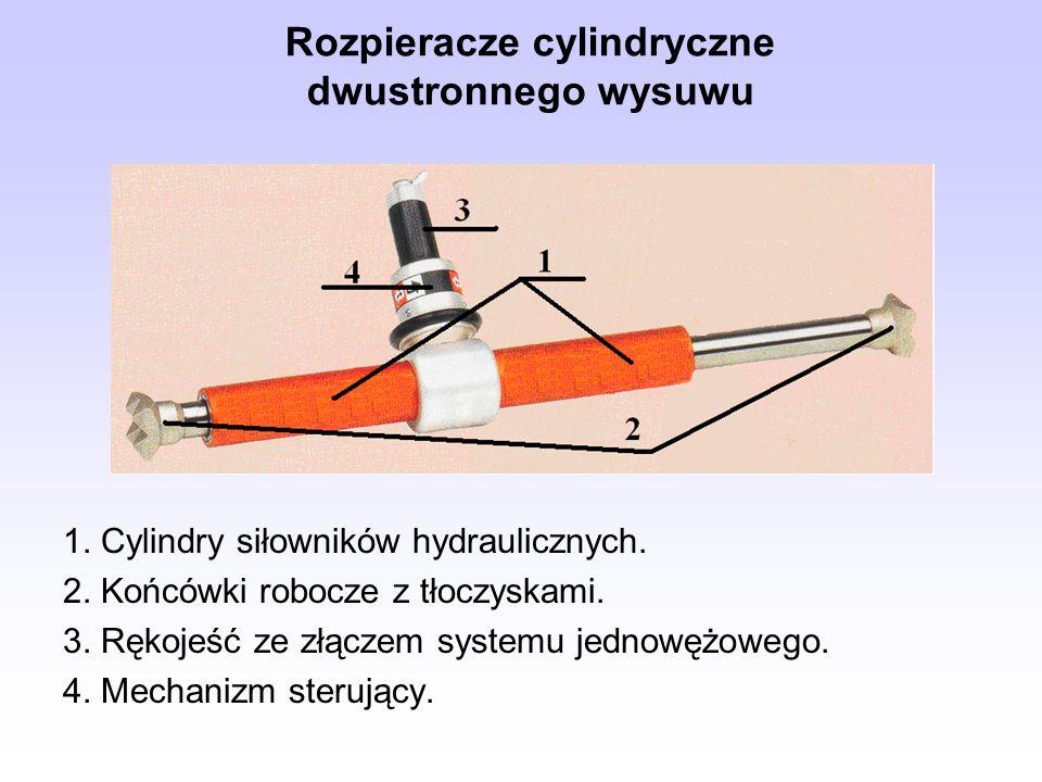 Rozpieracze cylindryczne dwustronnego wysuwu 1. Cylindry siłowników hydraulicznych. 2. Końcówki robocze z tłoczyskami. 3. Rękojeść ze złączem systemu