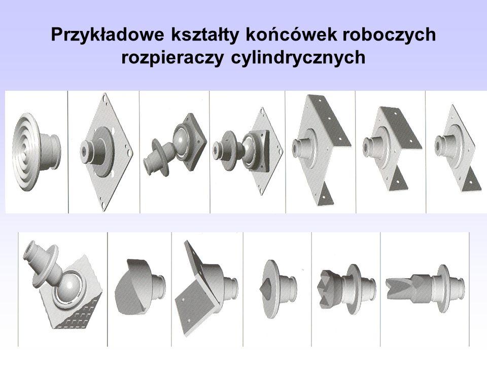 Przykładowe kształty końcówek roboczych rozpieraczy cylindrycznych