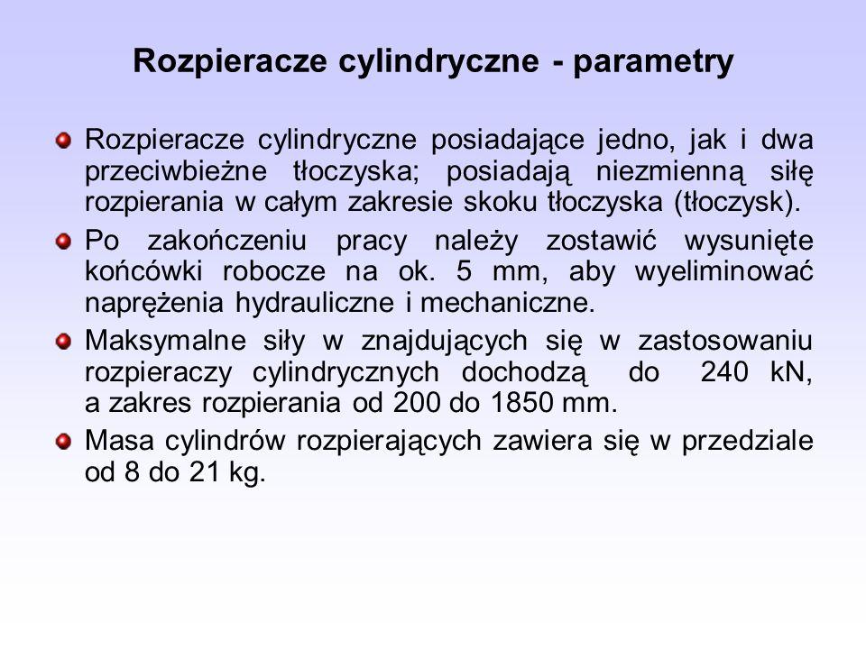 Rozpieracze cylindryczne - parametry Rozpieracze cylindryczne posiadające jedno, jak i dwa przeciwbieżne tłoczyska; posiadają niezmienną siłę rozpiera