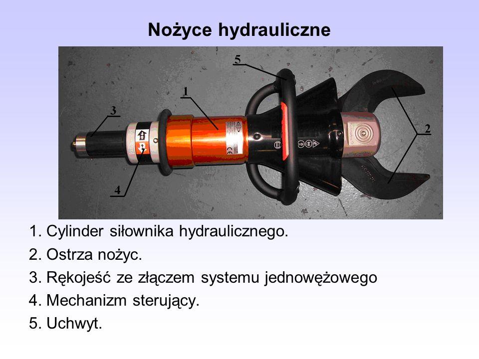 Nożyce hydrauliczne 1. Cylinder siłownika hydraulicznego. 2. Ostrza nożyc. 3. Rękojeść ze złączem systemu jednowężowego 4. Mechanizm sterujący. 5. Uch