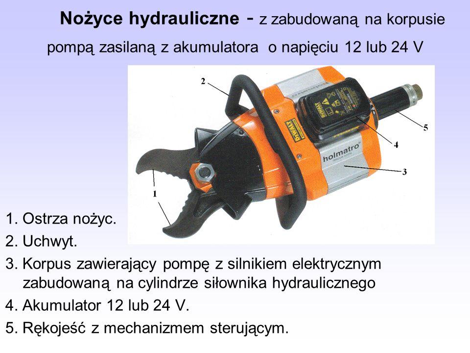 Nożyce hydrauliczne - z zabudowaną na korpusie pompą zasilaną z akumulatora o napięciu 12 lub 24 V 1. Ostrza nożyc. 2. Uchwyt. 3. Korpus zawierający p