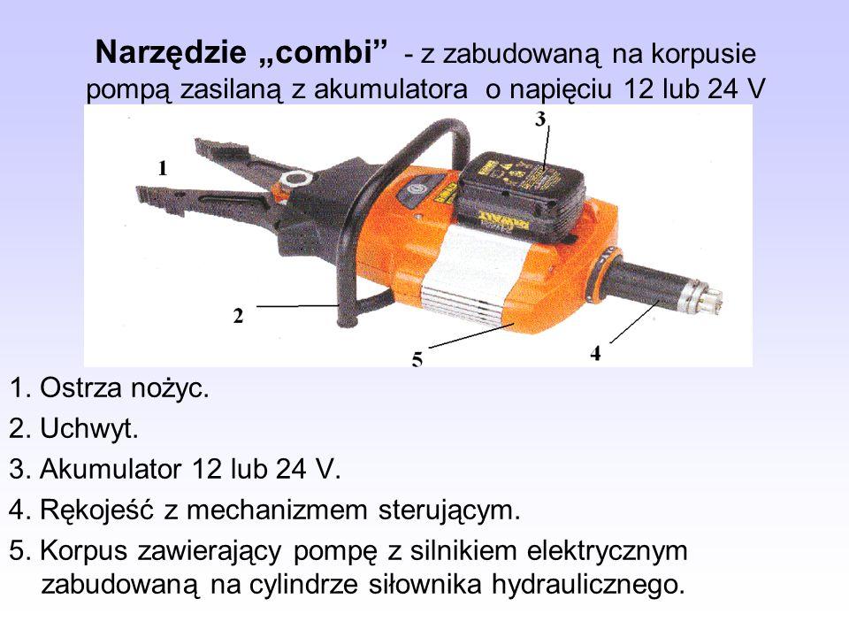 Narzędzie combi - z zabudowaną na korpusie pompą zasilaną z akumulatora o napięciu 12 lub 24 V 1. Ostrza nożyc. 2. Uchwyt. 3. Akumulator 12 lub 24 V.