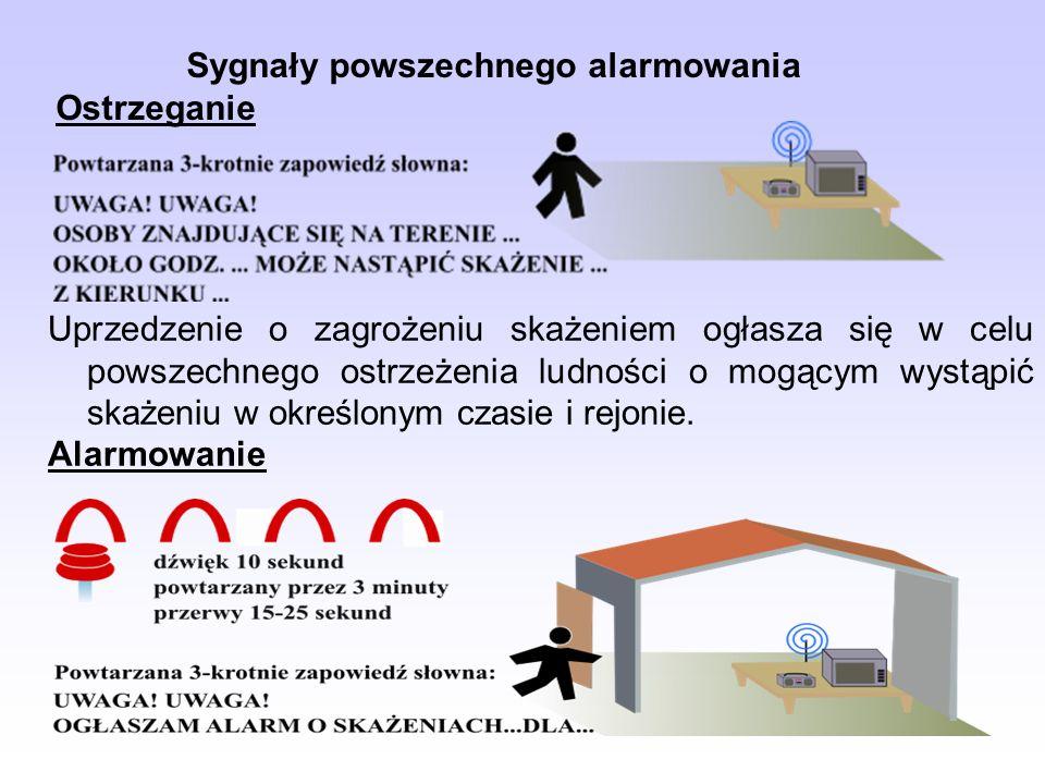 Sygnały powszechnego alarmowania Ostrzeganie Uprzedzenie o zagrożeniu skażeniem ogłasza się w celu powszechnego ostrzeżenia ludności o mogącym wystąpić skażeniu w określonym czasie i rejonie.