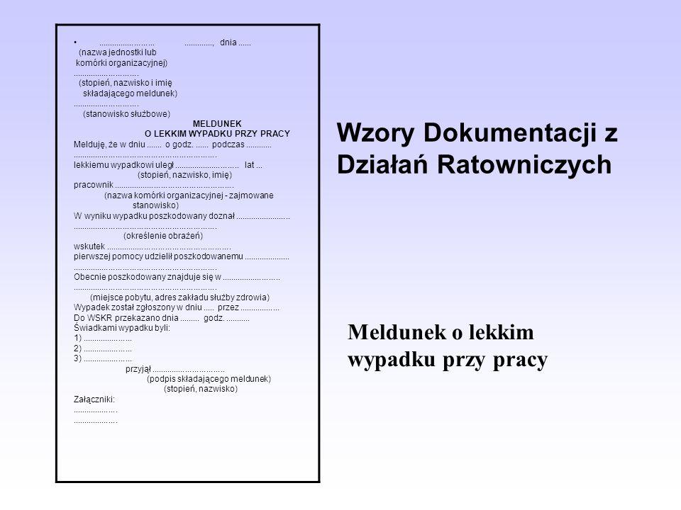 Wzory Dokumentacji z Działań Ratowniczych......................................, dnia...... (nazwa jednostki lub komórki organizacyjnej)..............
