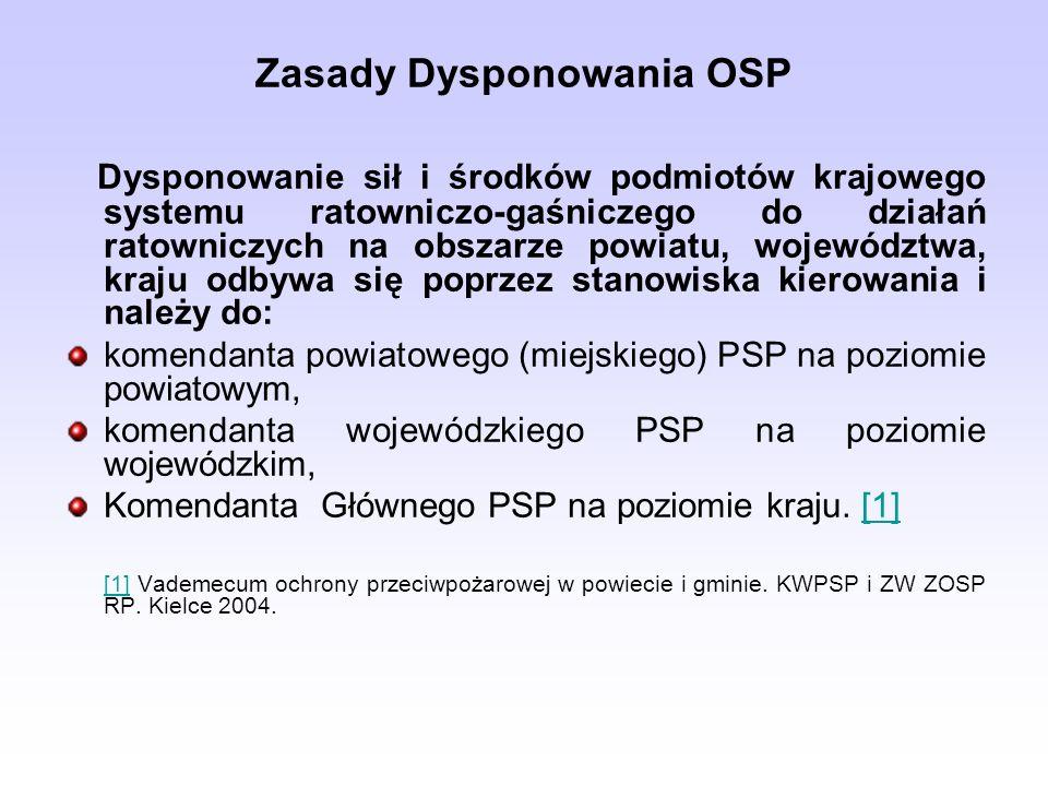 Zasady Dysponowania OSP Dysponowanie sił i środków podmiotów krajowego systemu ratowniczo-gaśniczego do działań ratowniczych na obszarze powiatu, województwa, kraju odbywa się poprzez stanowiska kierowania i należy do: komendanta powiatowego (miejskiego) PSP na poziomie powiatowym, komendanta wojewódzkiego PSP na poziomie wojewódzkim, Komendanta Głównego PSP na poziomie kraju.