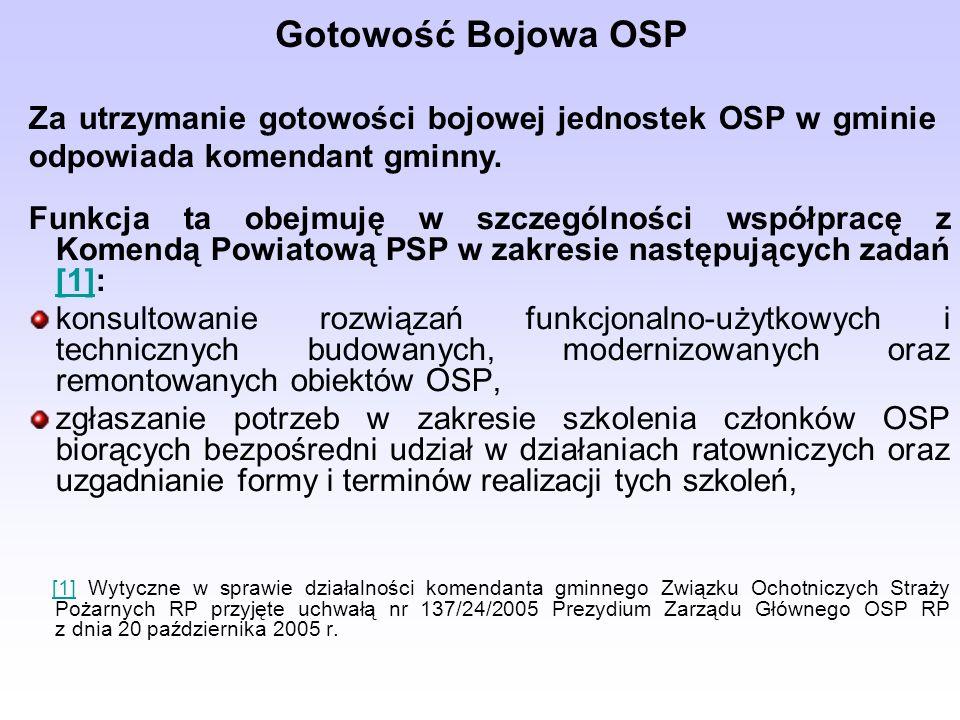 Gotowość Bojowa OSP Funkcja ta obejmuję w szczególności współpracę z Komendą Powiatową PSP w zakresie następujących zadań [1]: [1] konsultowanie rozwiązań funkcjonalno-użytkowych i technicznych budowanych, modernizowanych oraz remontowanych obiektów OSP, zgłaszanie potrzeb w zakresie szkolenia członków OSP biorących bezpośredni udział w działaniach ratowniczych oraz uzgadnianie formy i terminów realizacji tych szkoleń, [1] Wytyczne w sprawie działalności komendanta gminnego Związku Ochotniczych Straży Pożarnych RP przyjęte uchwałą nr 137/24/2005 Prezydium Zarządu Głównego OSP RP z dnia 20 października 2005 r.[1] Za utrzymanie gotowości bojowej jednostek OSP w gminie odpowiada komendant gminny.