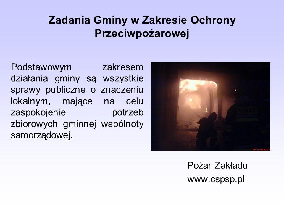 Zadania Gminy w Zakresie Ochrony Przeciwpożarowej Pożar Zakładu www.cspsp.pl Podstawowym zakresem działania gminy są wszystkie sprawy publiczne o znaczeniu lokalnym, mające na celu zaspokojenie potrzeb zbiorowych gminnej wspólnoty samorządowej.