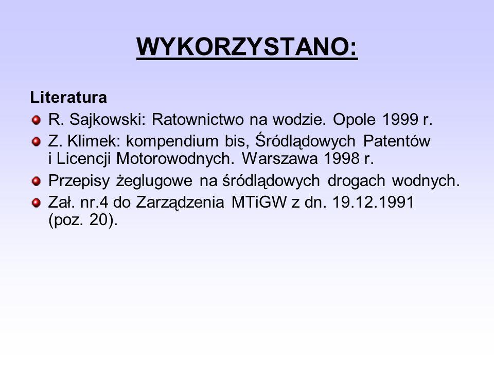 WYKORZYSTANO: Literatura R. Sajkowski: Ratownictwo na wodzie. Opole 1999 r. Z. Klimek: kompendium bis, Śródlądowych Patentów i Licencji Motorowodnych.