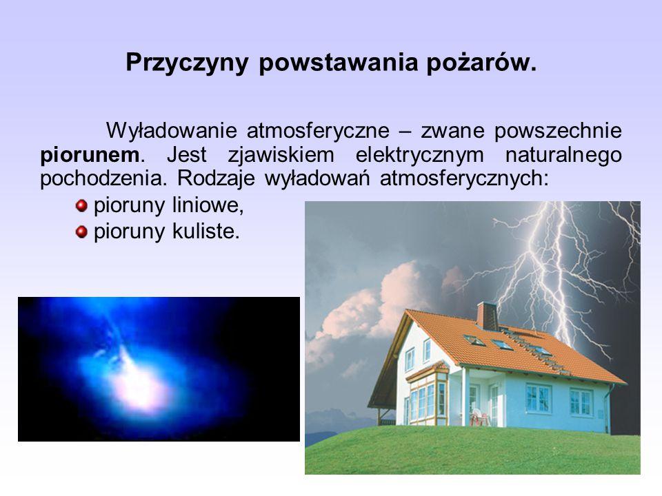 Przyczyny powstawania pożarów. Wyładowanie atmosferyczne – zwane powszechnie piorunem. Jest zjawiskiem elektrycznym naturalnego pochodzenia. Rodzaje w
