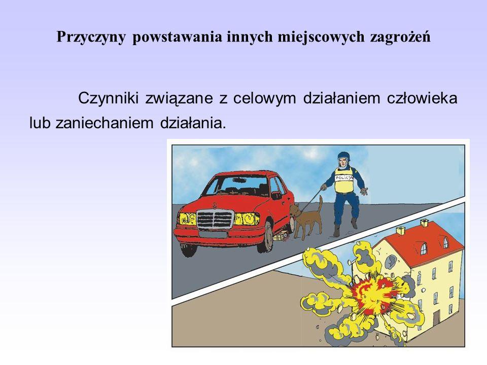 Przyczyny powstawania innych miejscowych zagrożeń Czynniki związane z celowym działaniem człowieka lub zaniechaniem działania.