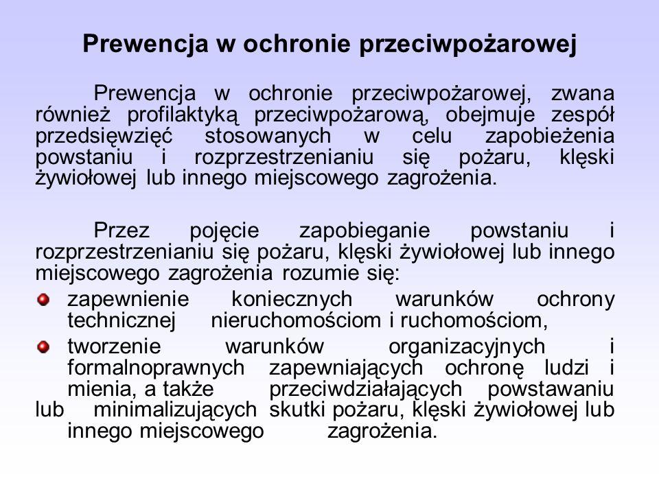 Prewencja w ochronie przeciwpożarowej Prewencja w ochronie przeciwpożarowej, zwana również profilaktyką przeciwpożarową, obejmuje zespół przedsięwzięć