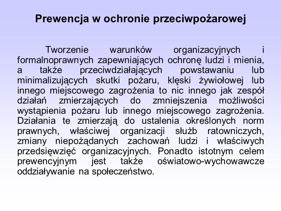 Prewencja w ochronie przeciwpożarowej Tworzenie warunków organizacyjnych i formalnoprawnych zapewniających ochronę ludzi i mienia, a także przeciwdzia