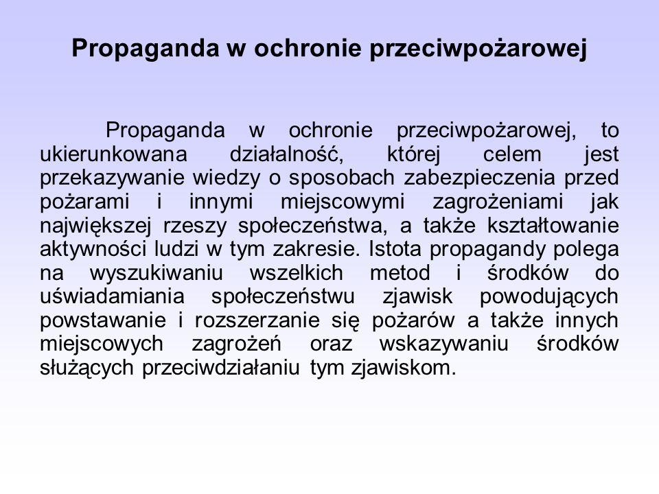 Propaganda w ochronie przeciwpożarowej Propaganda w ochronie przeciwpożarowej, to ukierunkowana działalność, której celem jest przekazywanie wiedzy o