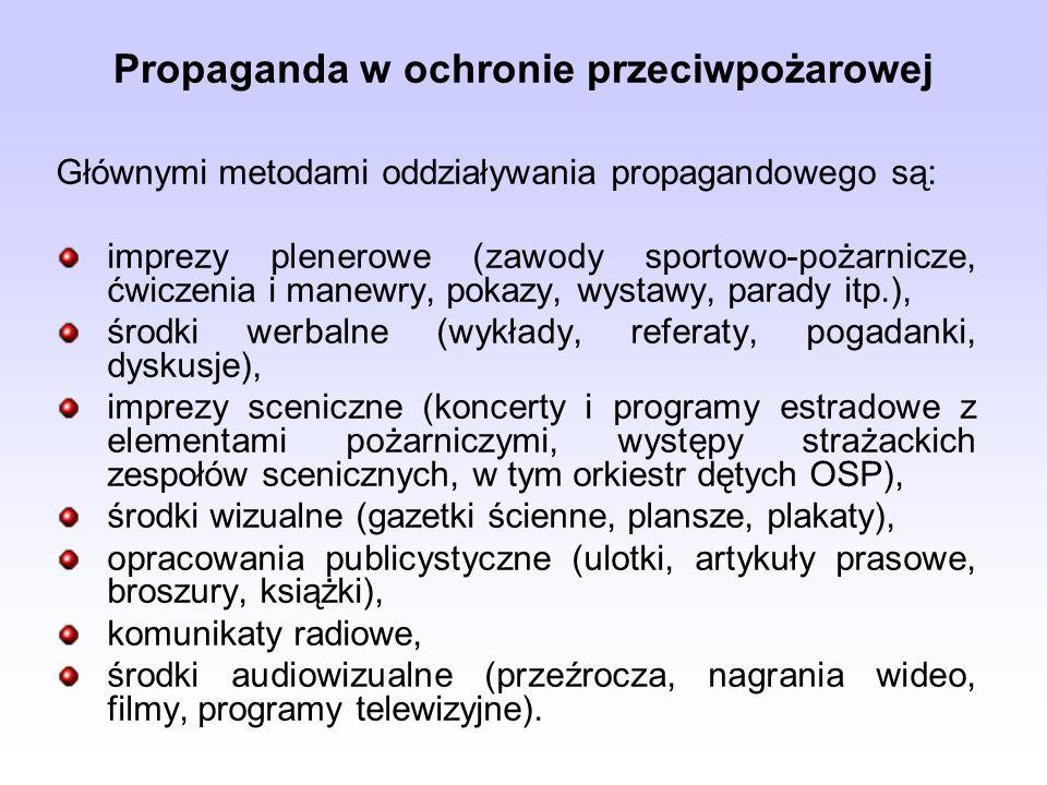 Propaganda w ochronie przeciwpożarowej Głównymi metodami oddziaływania propagandowego są: imprezy plenerowe (zawody sportowo-pożarnicze, ćwiczenia i m
